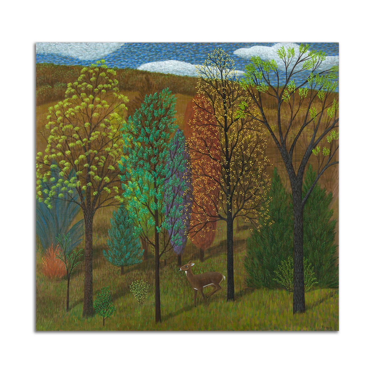 Deer in Trees by Jane Troup