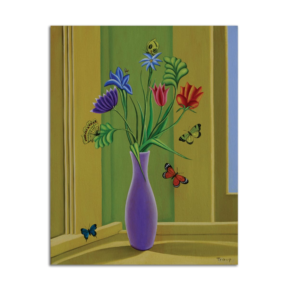 Vase with Butterflies by Jane Troup