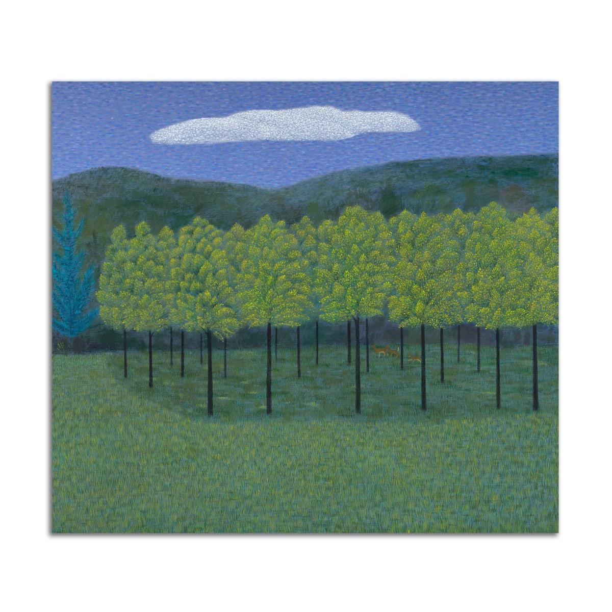 Walnut Field with Deer by Jane Troup