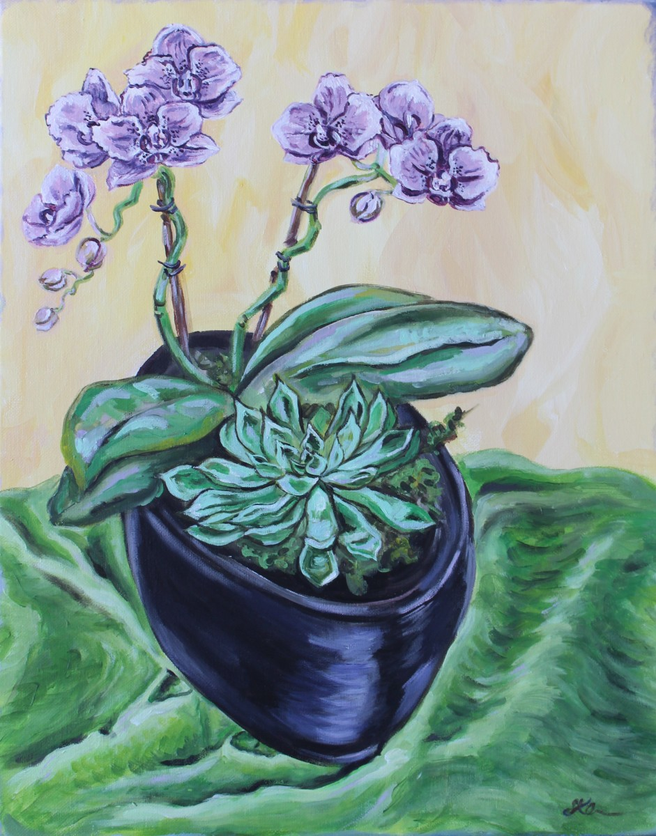 Orchid and Succulent by Sonya Kleshik
