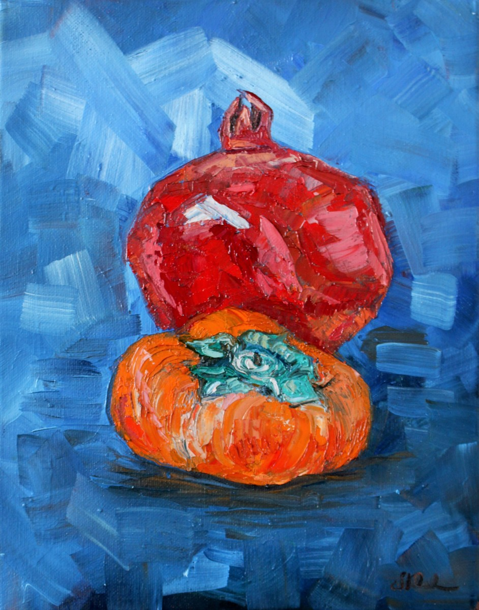 Pomegranate and Persimmon by Sonya Kleshik