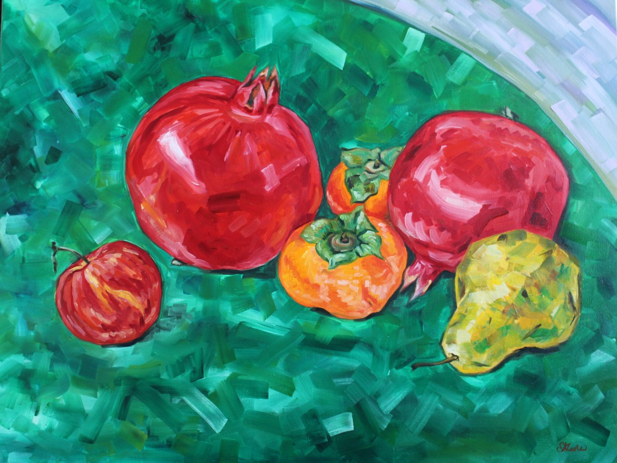 Still Life with Pomegranates, Persimmons, Pear and Apple by Sonya Kleshik