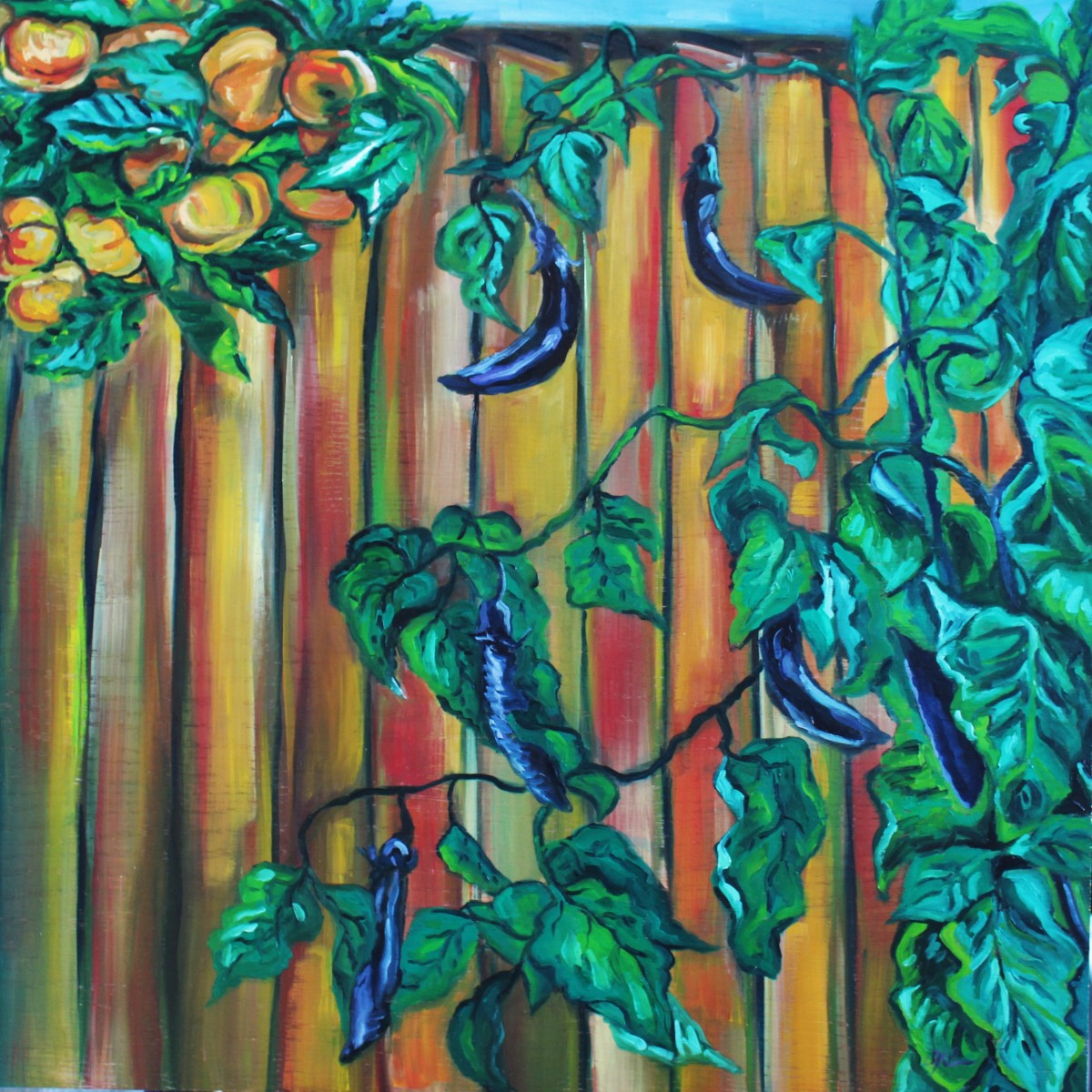 Eggplants and Persimmon Tree by Sonya Kleshik