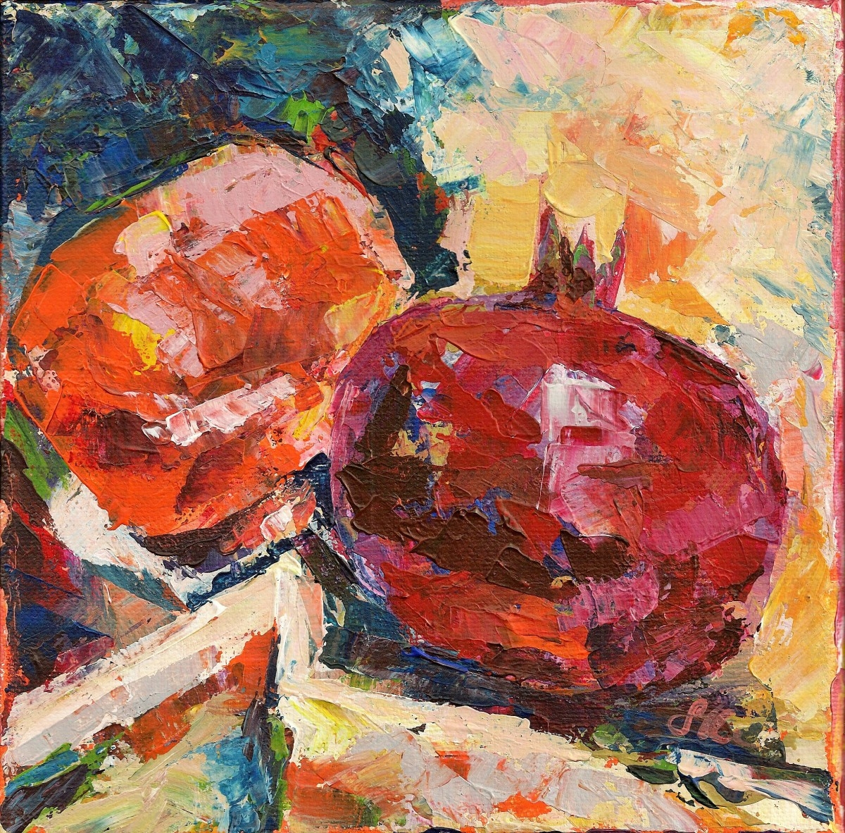 Persimmon and Pomegranate by Sonya Kleshik
