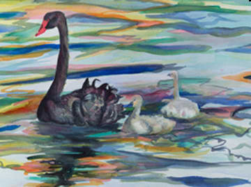 Morning Swim (Watercolor Giclee) by April Rimpo