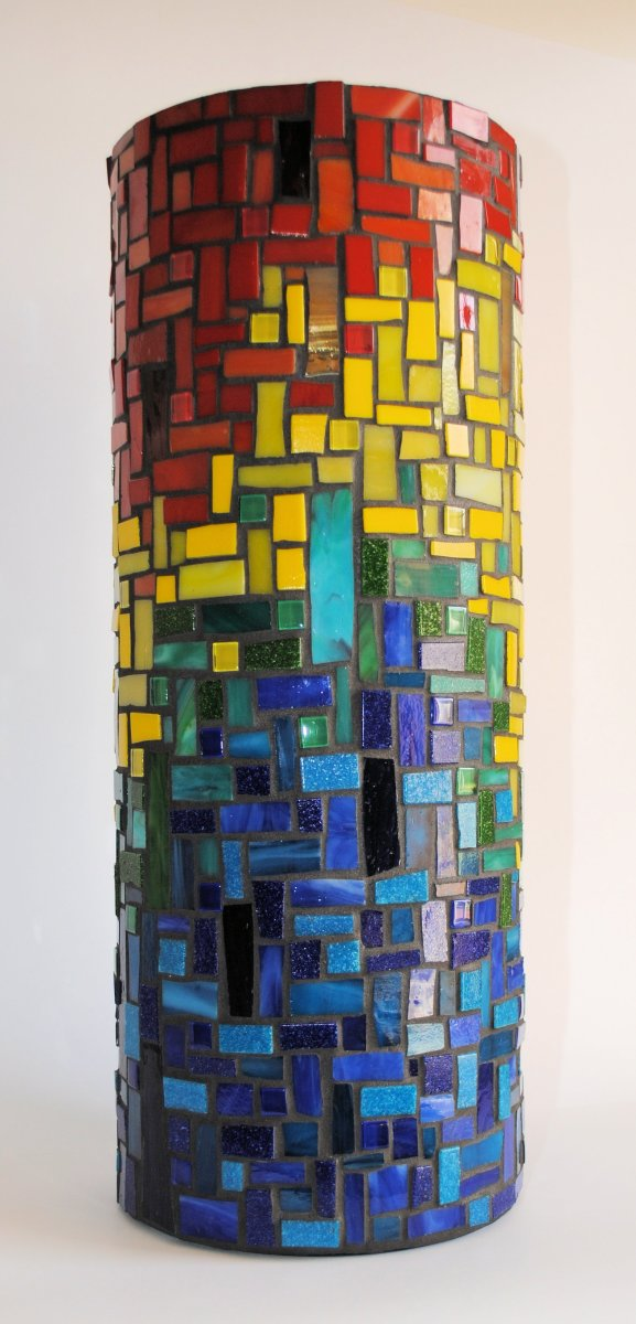 Mondrian Inspired Stained Glass Vase By Wendy Artwork Archive