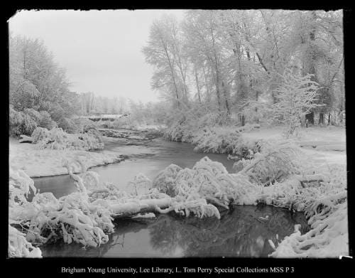 [Chalk Creek] by George Beard  Image: A snow-covered log fallen across a windy creek withy snowy banks.