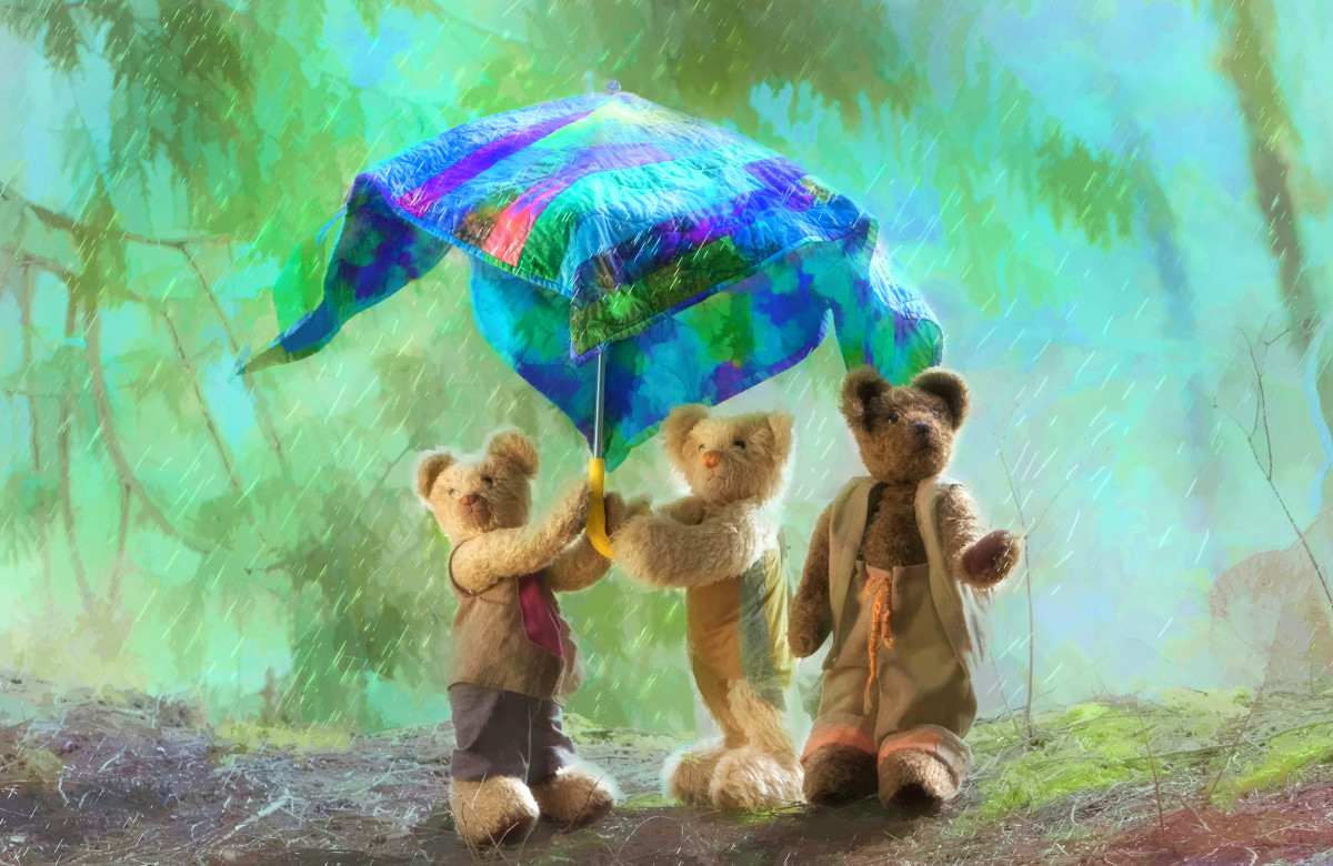 Bramble Glen Bears with Umbrella