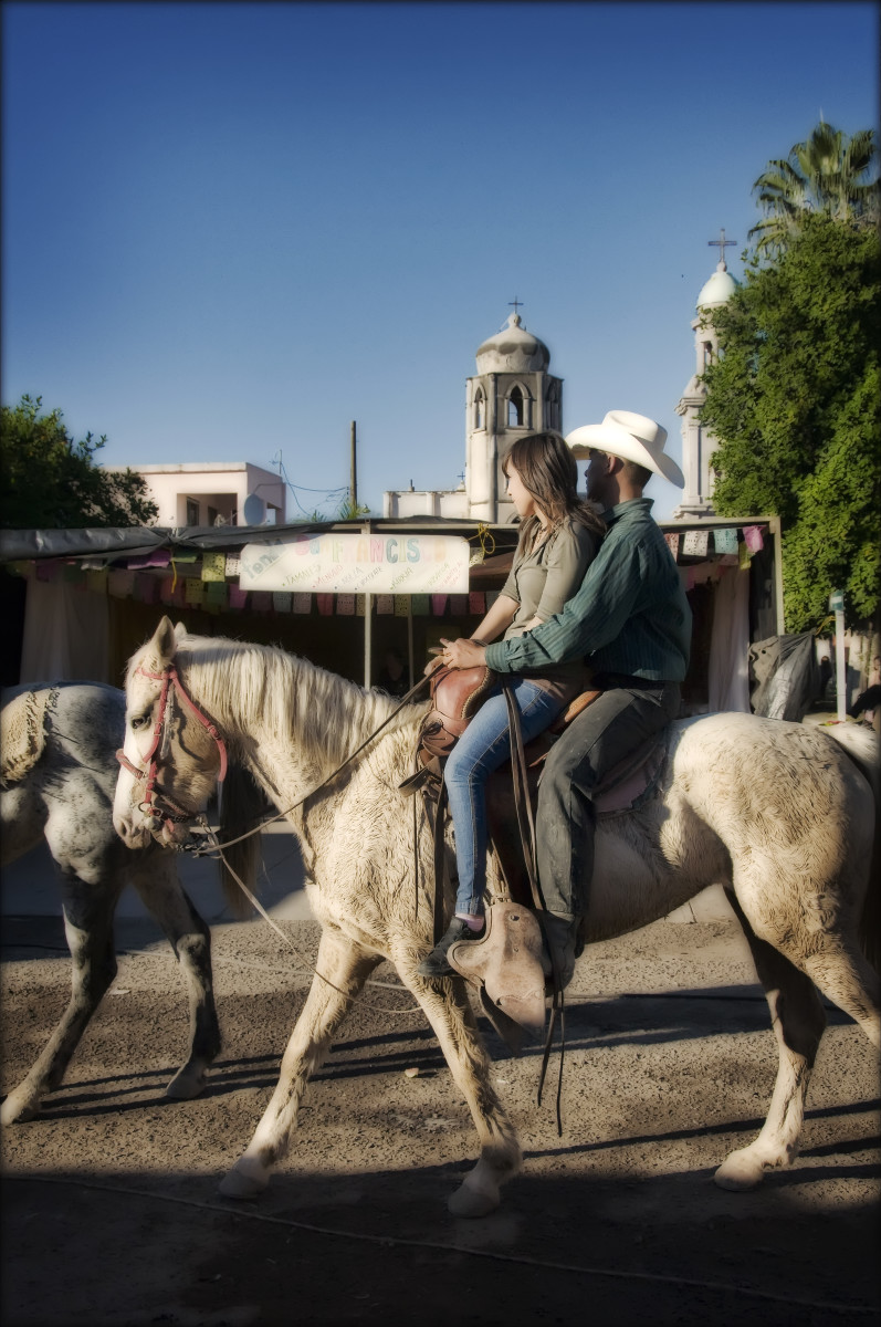 Couple on Horseback at Fiesta Baviacora, Sonora
