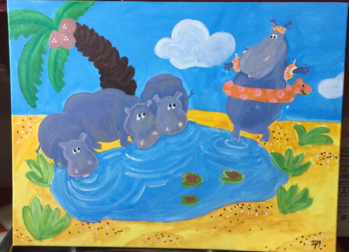 Hippopotami by Jo and Dakota Tudisco-Guntert