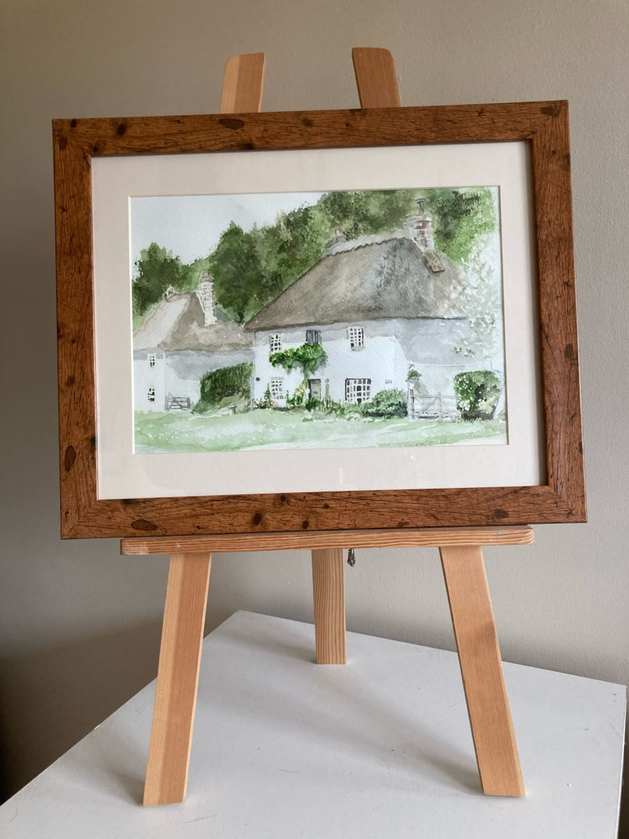 Milton Abbas Cottage by Ally Tate  Image: Frame is  for display only, artwork will be mounted and unframed