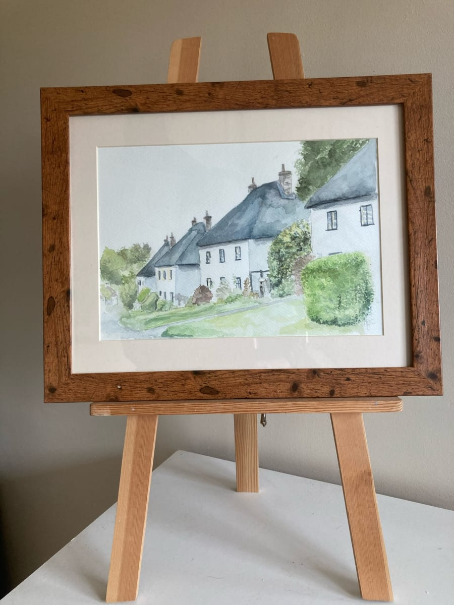 Milton Abbas Cottages by Ally Tate  Image: Frame is  for display only, artwork will be mounted and unframed