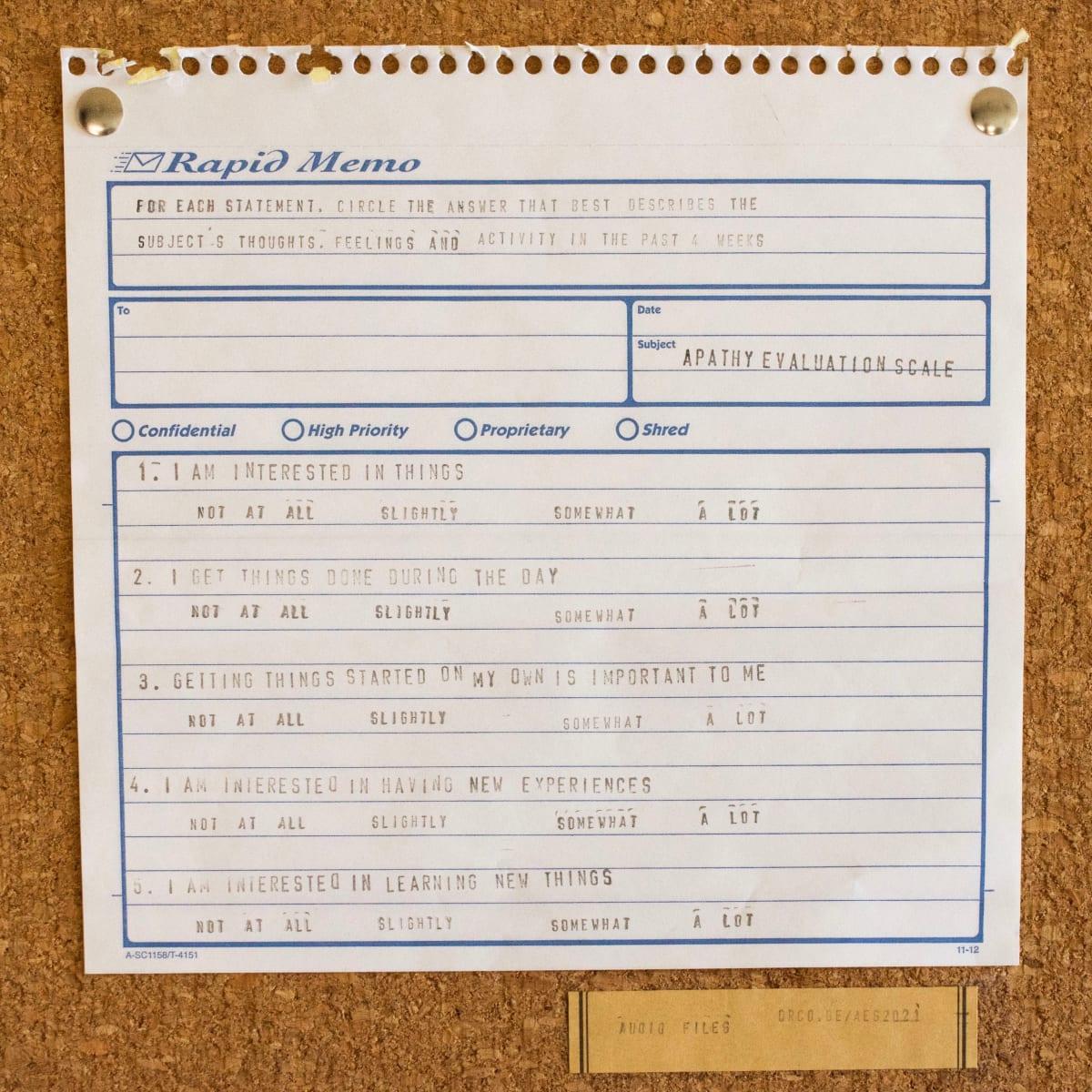 Apathy Evaluation Series # 1 by Amy Felton Toth  Image: monoprint, cork, label, thumbtacks