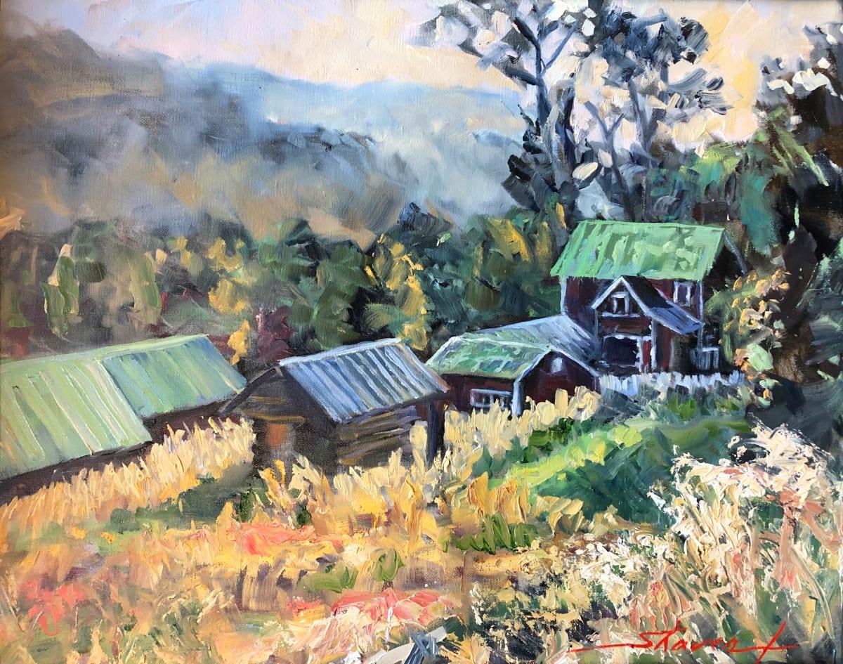 """""""Plein Homestead"""" by Sharon Rusch Shaver"""