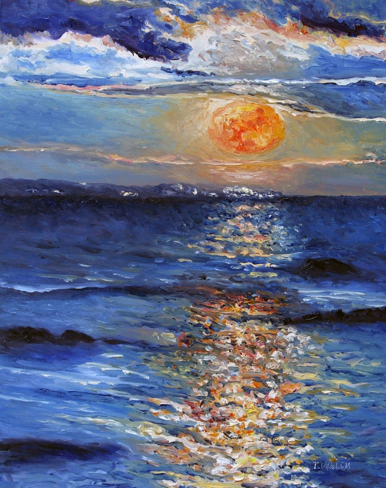 Christmas Day Full Moonrise 2015 by Terrill Welch