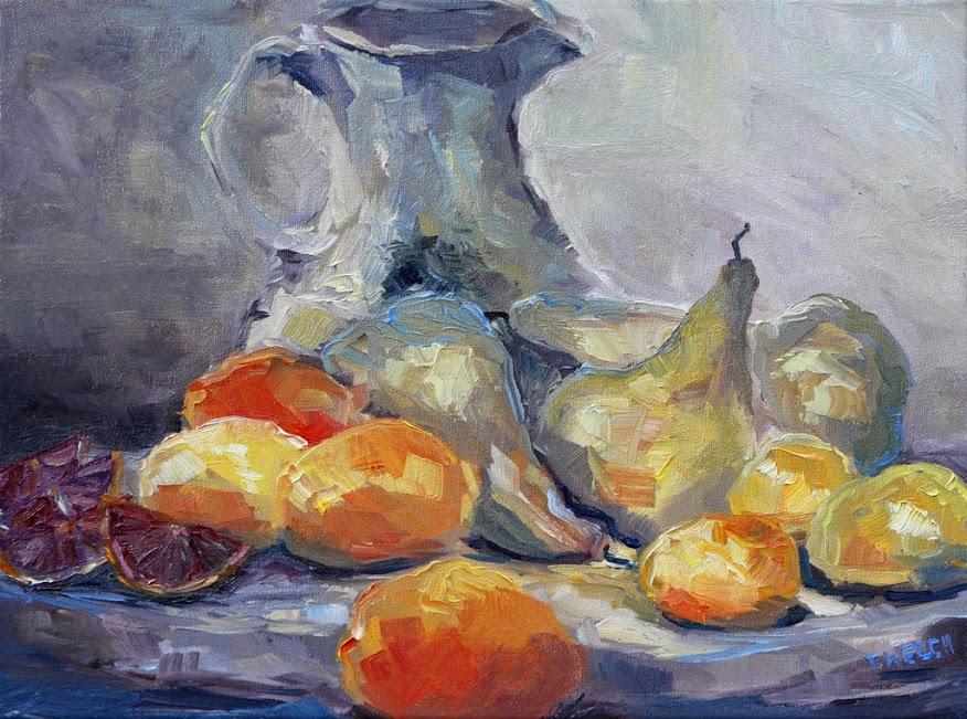 Wine Vase Pears Lemons and Blood Oranges