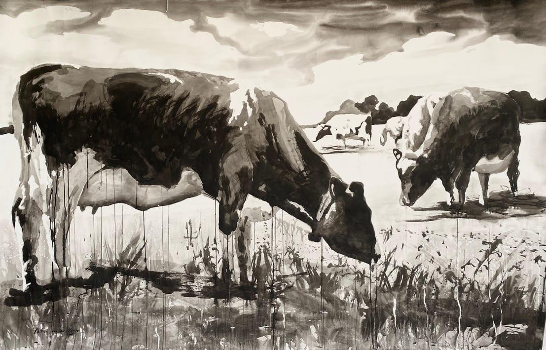 Grazing cows by Philine van der Vegte
