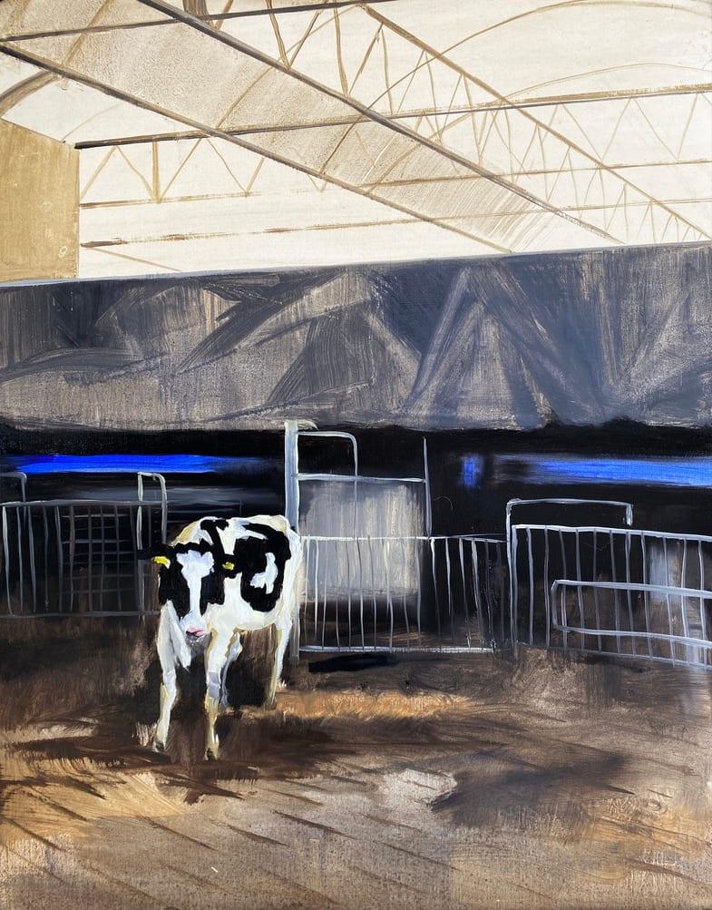Bij de melkrobot (At the milking robot) by Philine van der Vegte