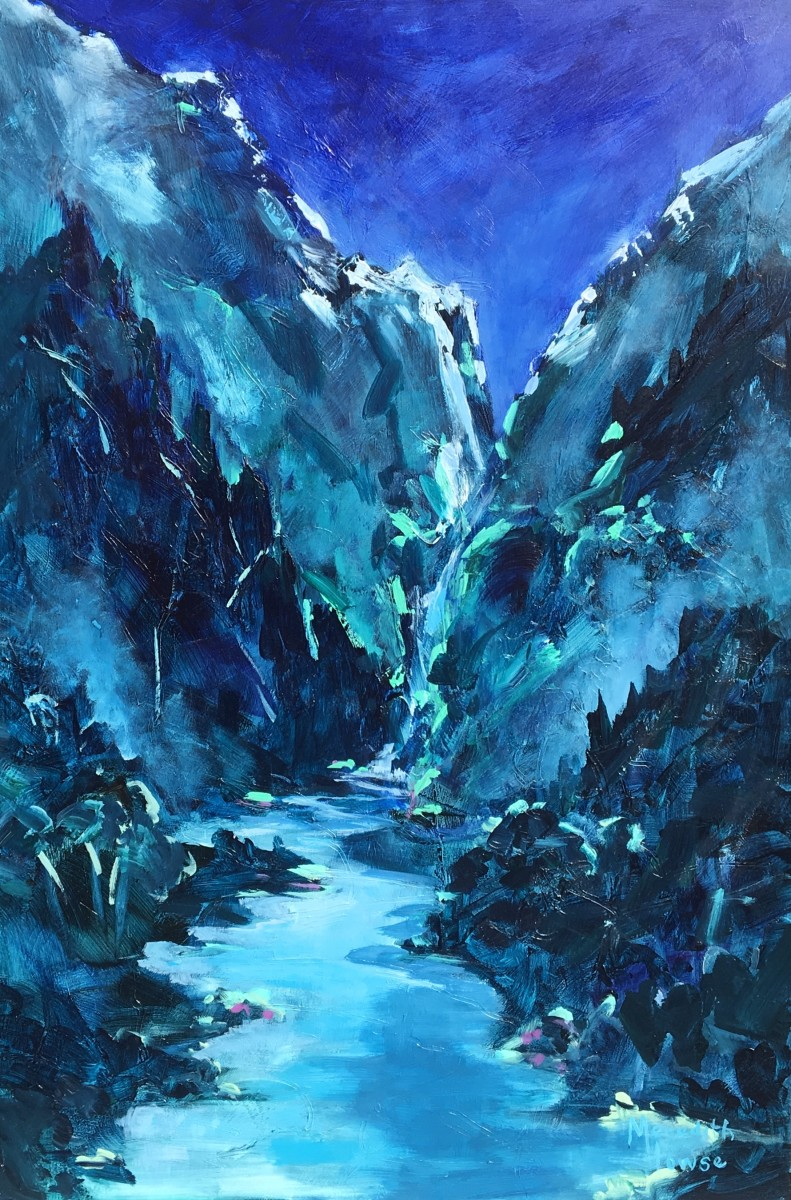 Night falls over the Shotover River by Meredith Howse