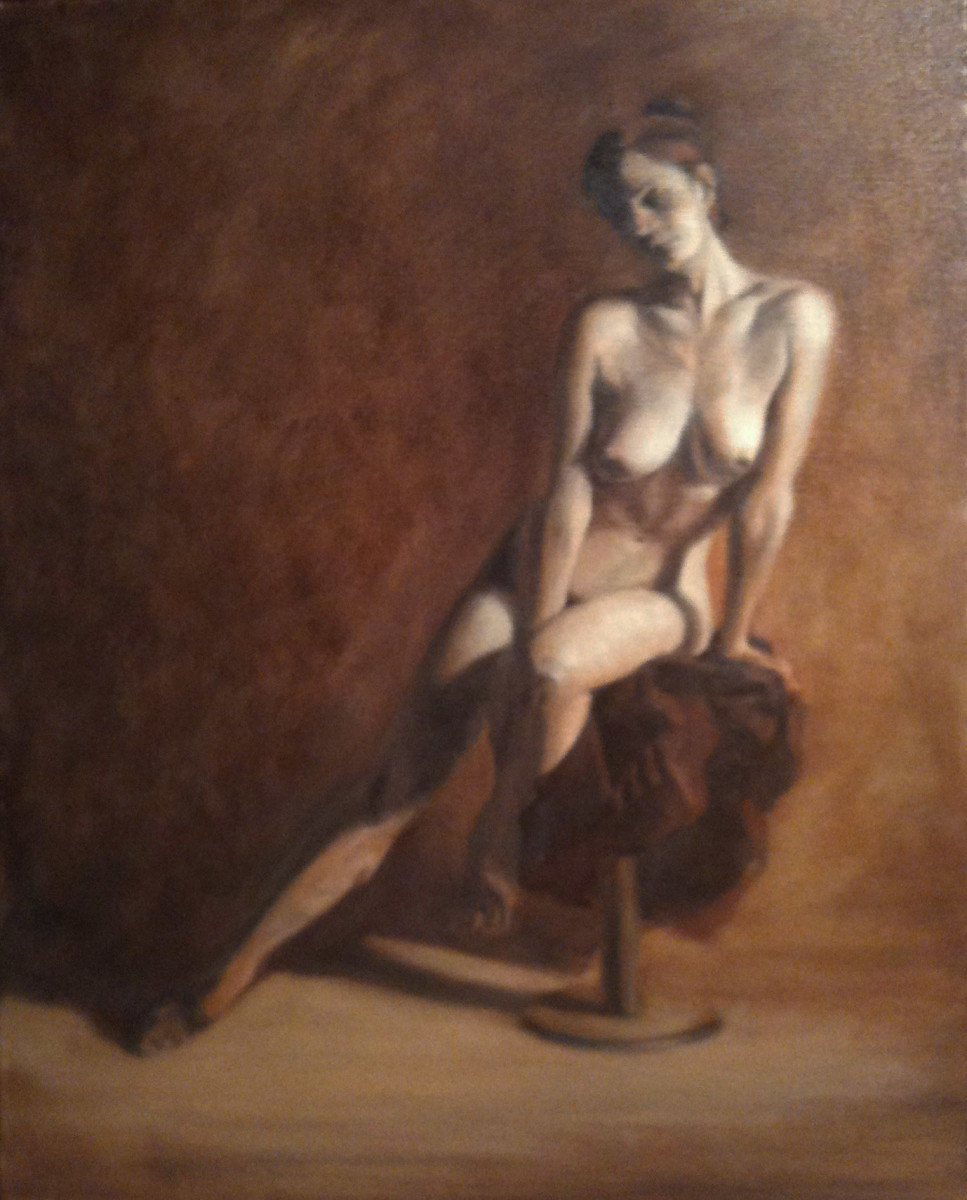 Seated Nude from Front by Kathy Ferguson