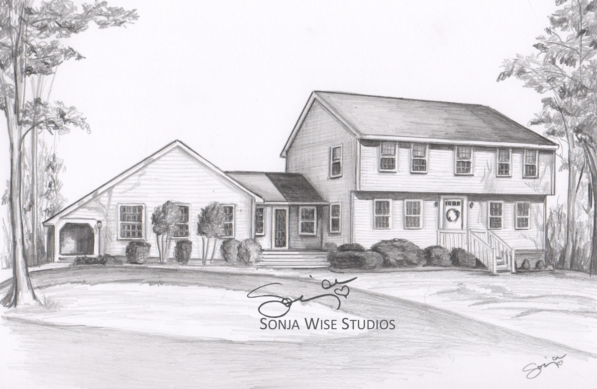 Pencil house drawing by sonja petersen artwork archive