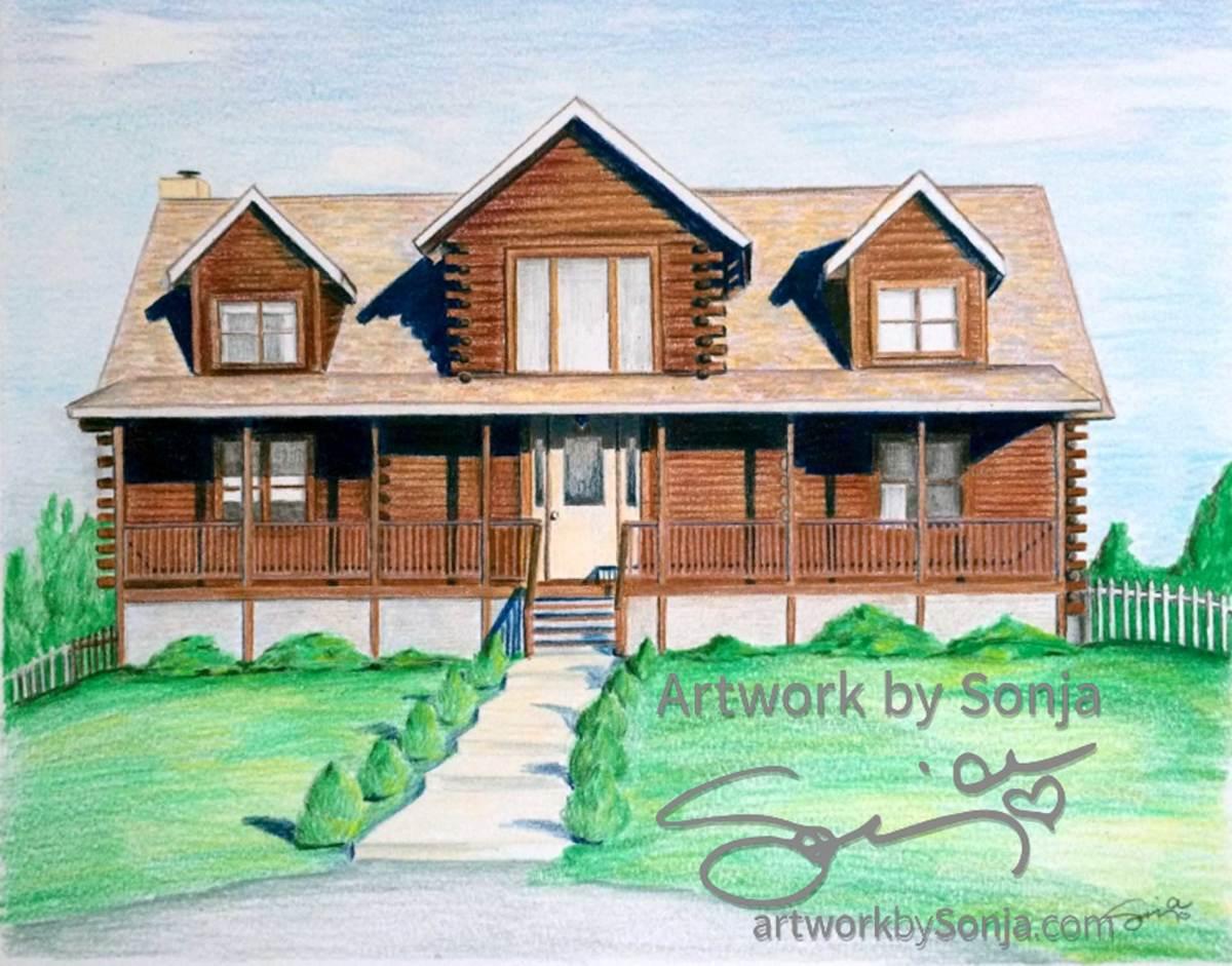 Log Cabin House Drawing by Sonja Petersen