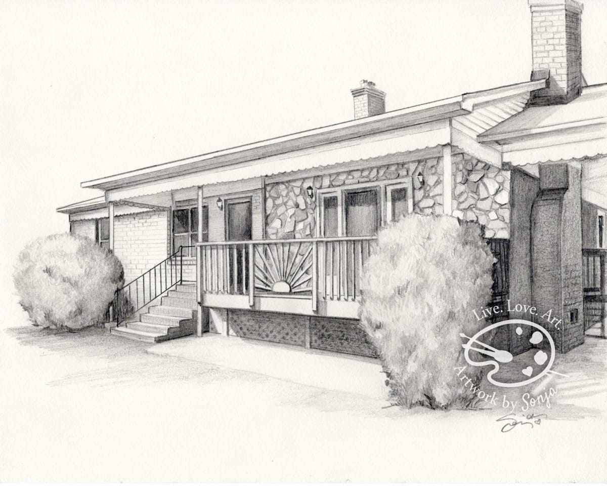 One Story Stone and Wood House Drawing by Sonja Petersen