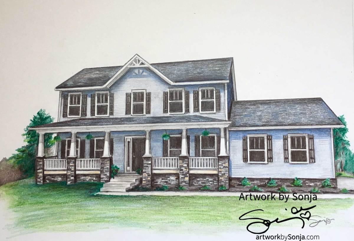 Blue and Gray House Portrait