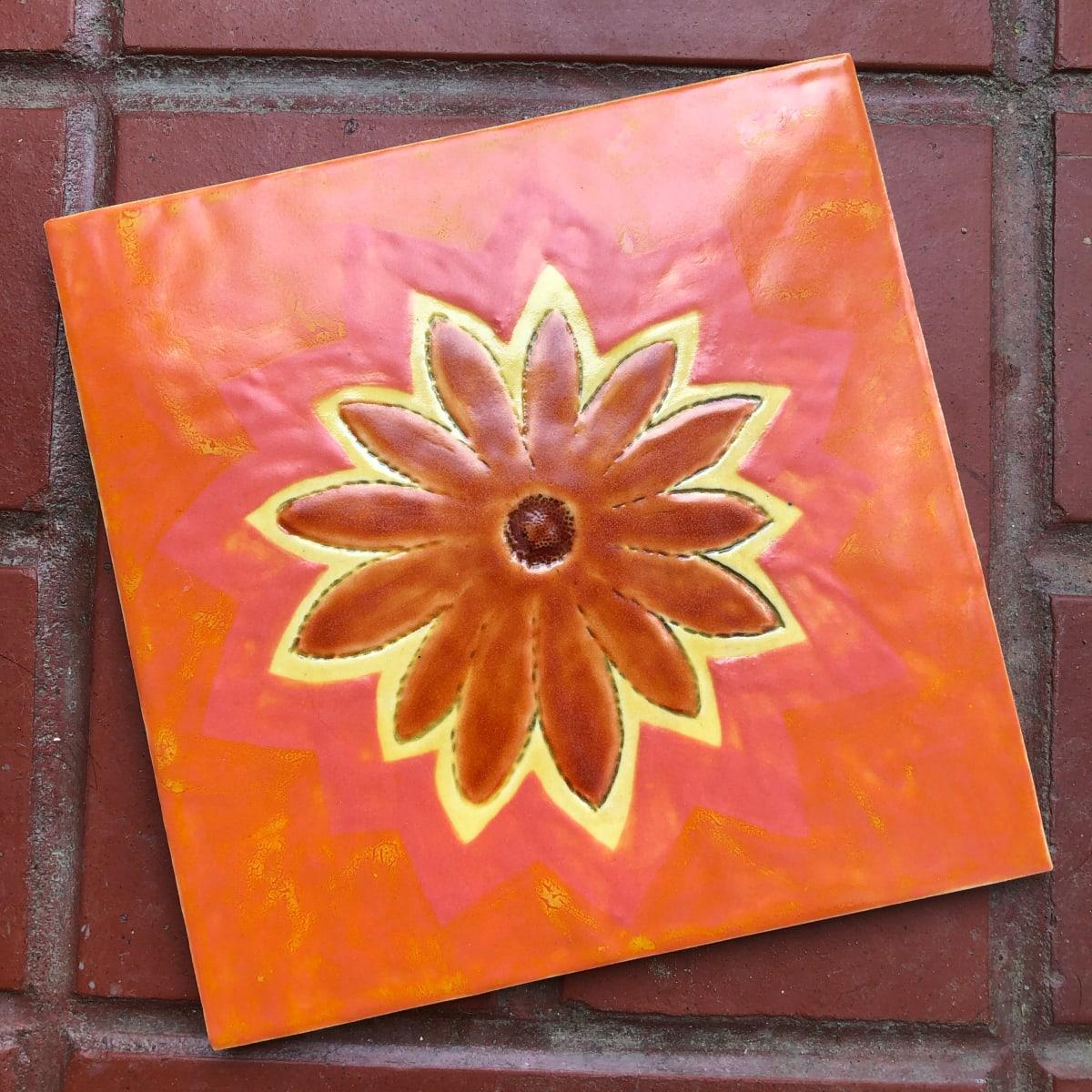 Deep Orange Happy Flower Daisy Tile by Nell Eakin