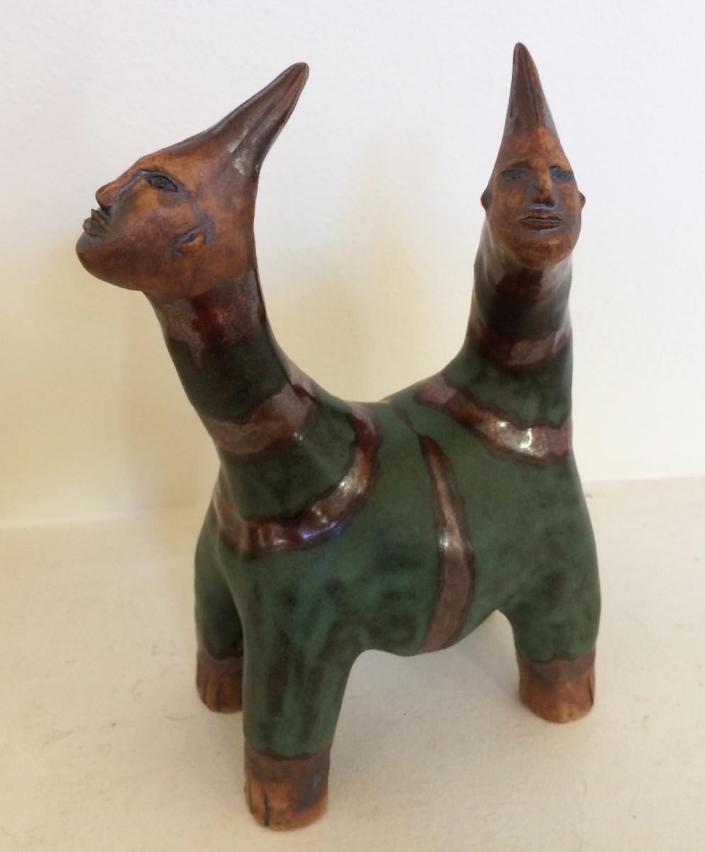 Seamus the green striped 2 headed unicorn by Nell Eakin