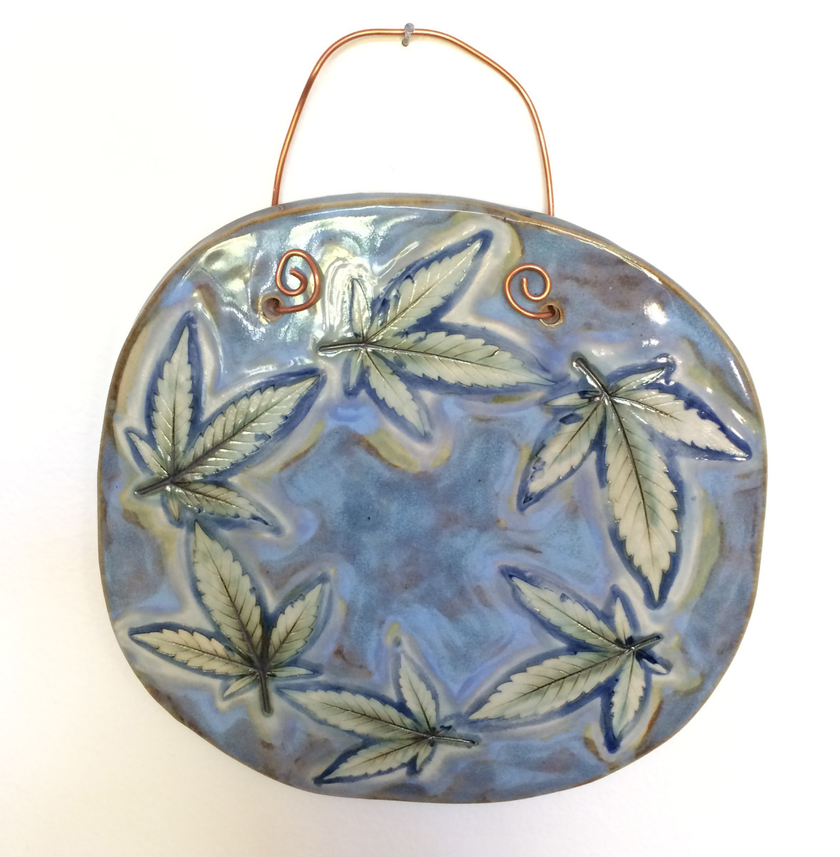 Blue Leaf Circle by Nell Eakin