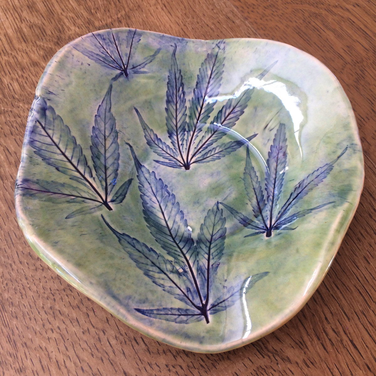 Green and blue  420 butterfly dish by Nell Eakin