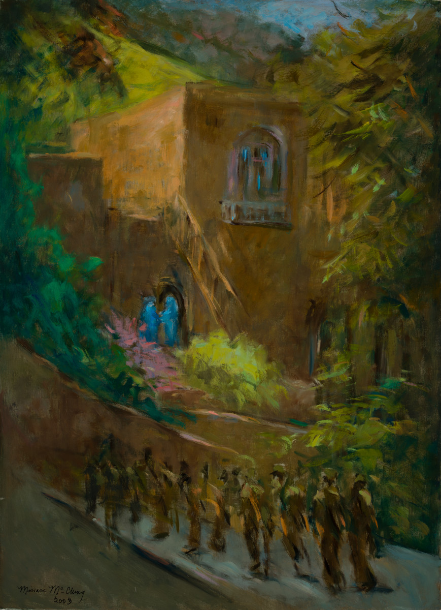 Elizabeth Greets Mary At Ein Karem By Miriam Mcclung Artwork Archive