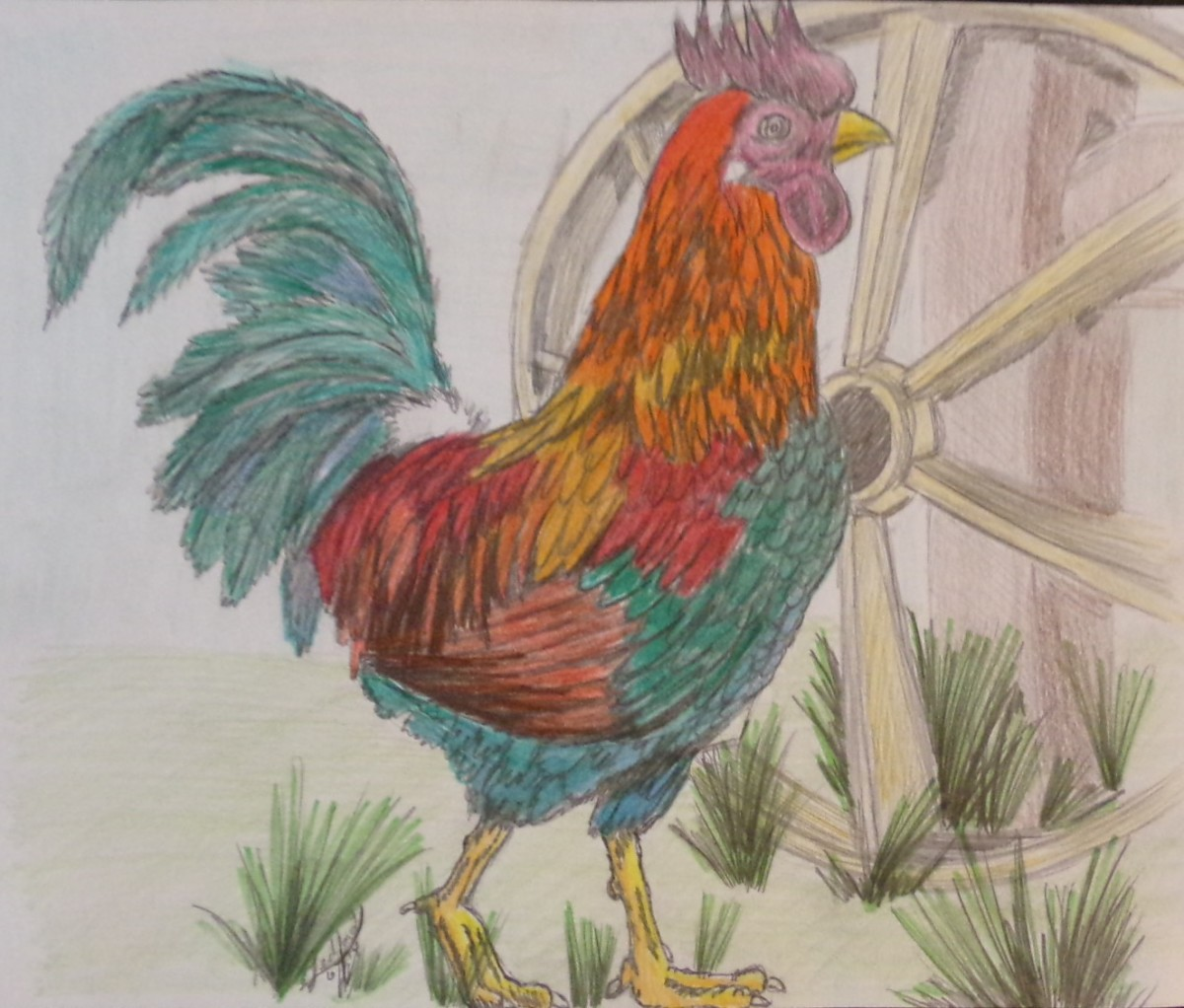 granny s rooster original art piece by stacy artwork archive