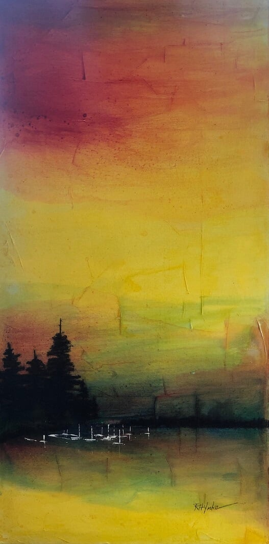 Sunset View by Robert Yonke  Image: Original Watercolor and Mixed Media on Canvas