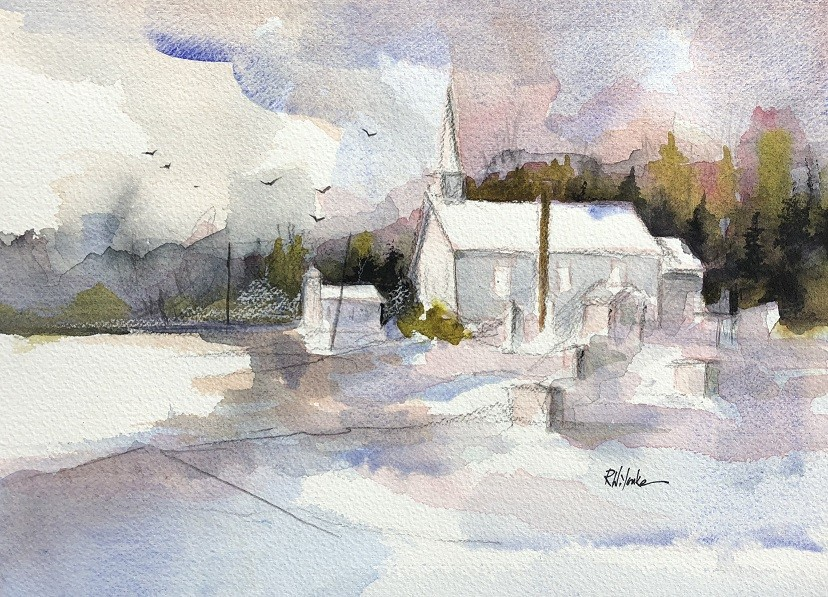 Winter Twin Churches by Robert Yonke
