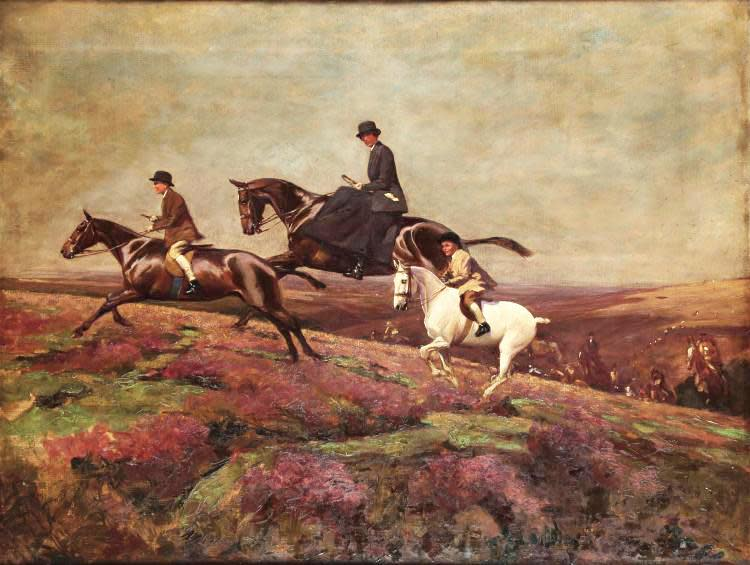 Lady Currie with Her Sons Bill and Hamish Hunting on Exmoor