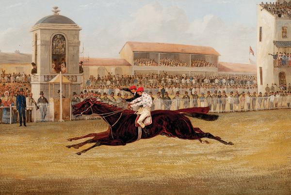 Dead Heat for the Doncaster St. Leger 1850 Between Voltiguer and Russborough