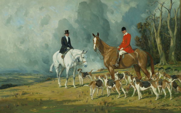 Mrs. Hawkins on Satylite, Major H. Hawkins, O.B.E. on The Bishop, with the Atherstone Hounds, MFH...
