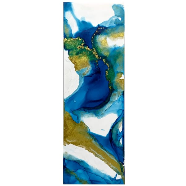 Alcohol Ink Bookmark Blue and Gold #1