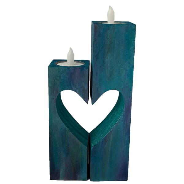 Colored Stain Wood Candle Holder Set - Blue #1
