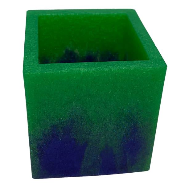 Resin Container - Square Swab/Brush/Pen Holder Blue Green #9