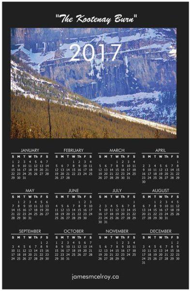 Kootenay Burn Calendar 2017 - 2
