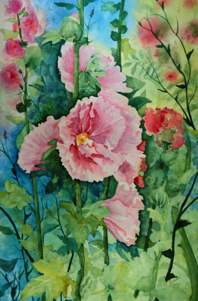 """Summer's Hollyhocks"""