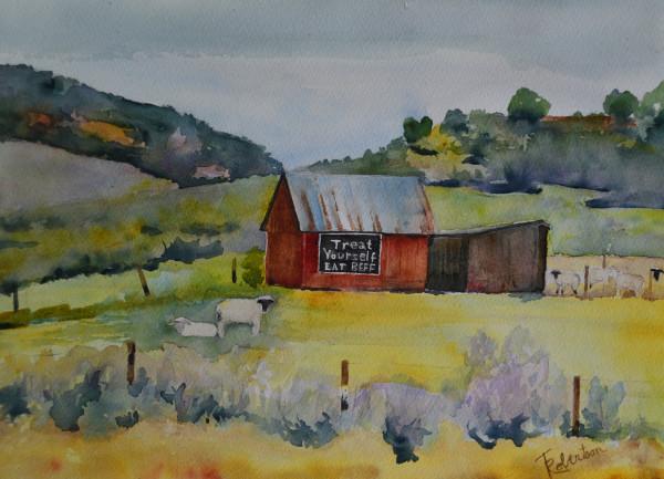 Red Barn & Sheep