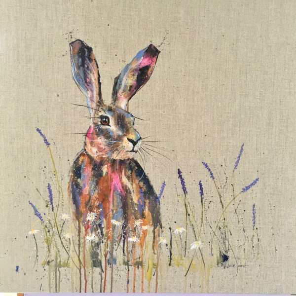 Hare in lavender and daisies