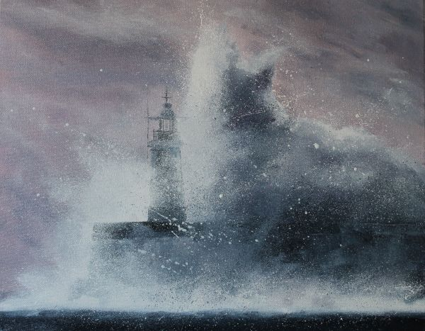 Lighthouse in the spray and storm