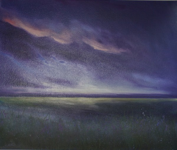 Purple sky lights up the meadows