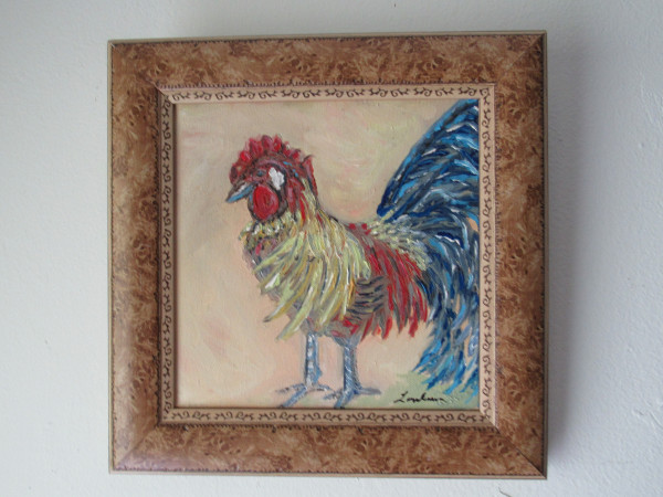 "Framed ""Rooster"" Acrylic Painting"