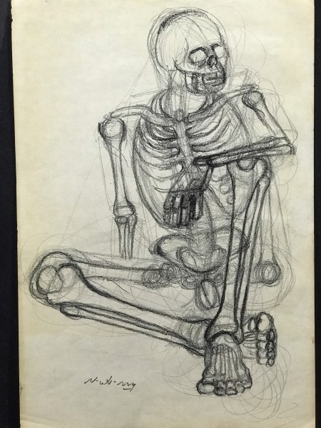 Nonchalant Skeleton Checking Out the Others